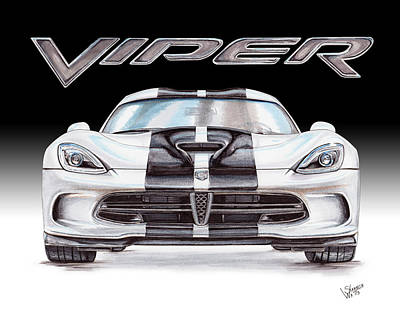 Viper Drawing - 2015 Dodge Viper by Shannon Watts