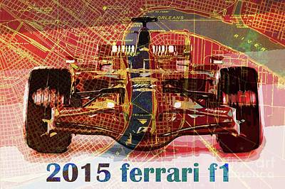 Jazz Royalty-Free and Rights-Managed Images - 2015 Ferrari Formula 1 on New Orleans old map by Drawspots Illustrations