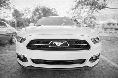 Photograph - 2015 Ford Mustang 50th Anniversary Edition Bw C151 by Rich Franco