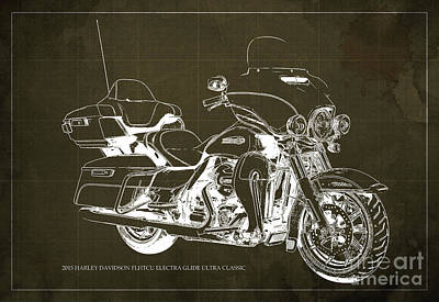 Harley Quinn Painting - 2015 Harley Davidson Flhtcu Electra Glide Ultra Classic Blueprint Brown Background by Pablo Franchi