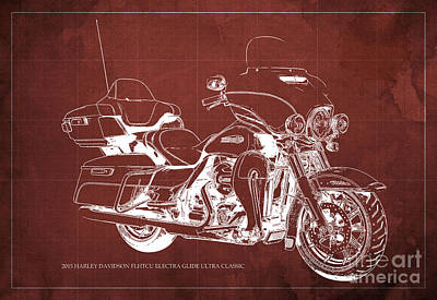 Cycles Painting - 2015 Harley Davidson Flhtcu Electra Glide Ultra Classic Blueprint Red Background by Pablo Franchi