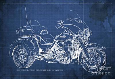 Old Car Digital Art - 2015 Harley-davidson Flhtcutg Tri Glide Ultra Classic Blueprint Blue Background by Pablo Franchi