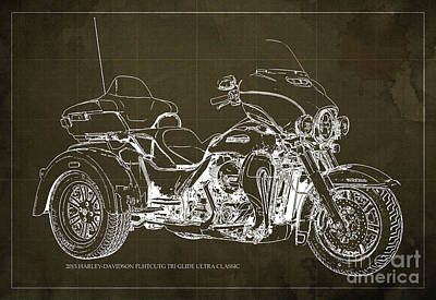 Black Background Mixed Media - 2015 Harley-davidson Flhtcutg Tri Glide Ultra Classic Blueprint Brown Background by Pablo Franchi