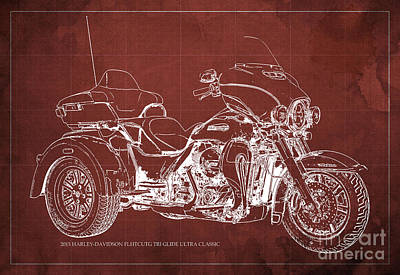 2015 Harley-davidson Flhtcutg Tri Glide Ultra Classic Blueprint Red Background Art Print by Pablo Franchi