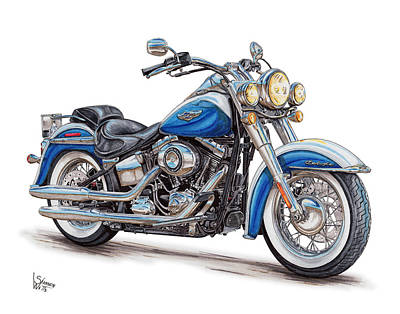 Harley Davidson Drawing - 2015 Harley Softail Deluxe by Shannon Watts