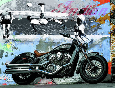 Motorcycle Mixed Media - 2015 Indian Scout Motorcycle, Pele' Wall Art by Thomas Pollart