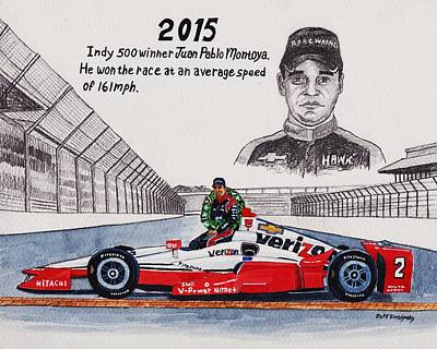 2015 Indy 500 Winner Art Print by Jeff Blazejovsky