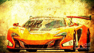 Home Decoration Mixed Media - 2015 Mclaren 650s Gt3 Race Car, Red Car, Vintage Poster by Pablo Franchi