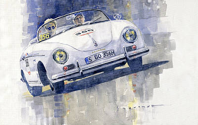 On Paper Painting - 2015 Mille Miglia Porsche 356 1500 Speedster by Yuriy Shevchuk