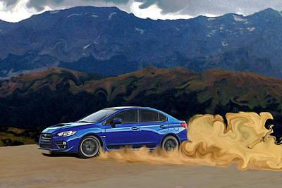 Blue Subaru Photograph - 2015 Subaru Wrx Drift Print by Erin Hissong