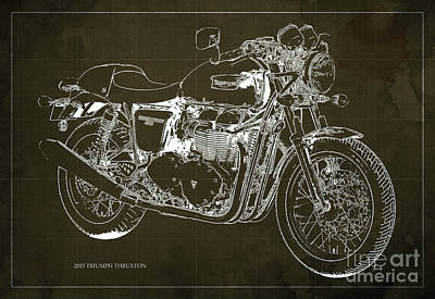 2015 Triumph Thruxton Blueprint Brown Background Art Print by Pablo Franchi
