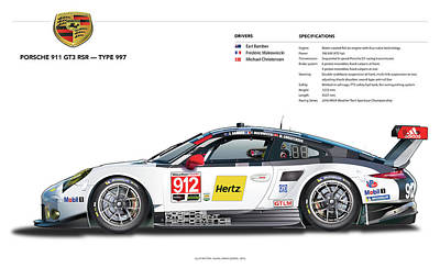 Drawing - 2016 911gt3r Rsr Poster by Alain Jamar