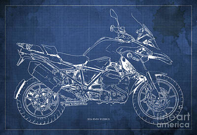 Motorcycle Mixed Media - 2016 Bmw R1200gs Blueprint Blue Background by Pablo Franchi
