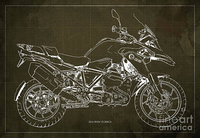 Teen Decor Mixed Media - 2016 Bmw R1200gs Blueprint Brown Background by Pablo Franchi