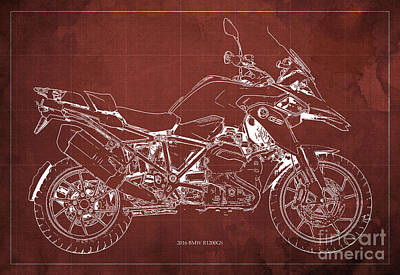 Bicycle Drawing - 2016 Bmw R1200gs Blueprint Red Background by Pablo Franchi