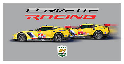 2016 Daytona 24 Hour Corvette Poster Art Print by Alain Jamar
