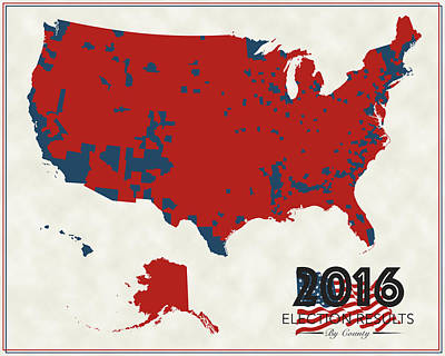 County Map Digital Art - 2016 Election Results by Finlay McNevin