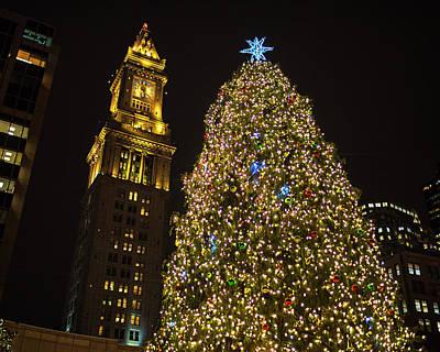 2016 Fanueil Hall Christmas Tree Boston Custom House Boston Ma Art Print