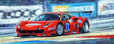 Painting - 2016 Hankook 24h Epilog Brno Ferrari 488 Gt3 Winner by Yuriy Shevchuk