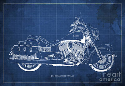 Wild Racers Digital Art - 2016 Indian Chief Vintage Motorcycle Blueprint, Blue Background by Pablo Franchi