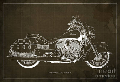 Wild Racers Digital Art - 2016 Indian Chief Vintage Motorcycle Blueprint, Brown Background by Pablo Franchi