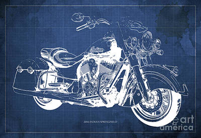 Anniversary Gift Drawing - 2016 Indian Springfield, Motorcycle Blueprint, Blue Background by Pablo Franchi