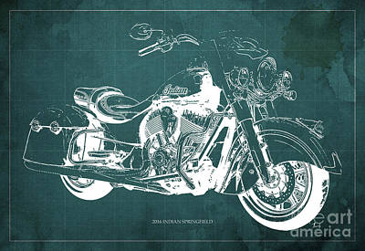 Anniversary Gift Drawing - 2016 Indian Springfield Motorcycle Blueprint Green Background by Pablo Franchi