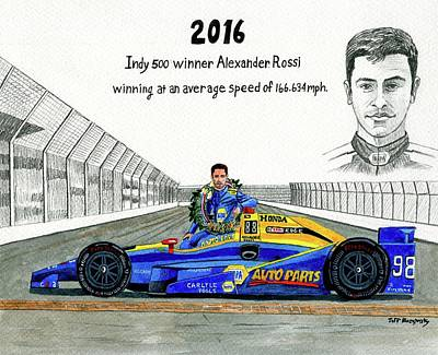 2016 Indy 500 Winner Alexander Rossi Art Print by Jeff Blazejovsky