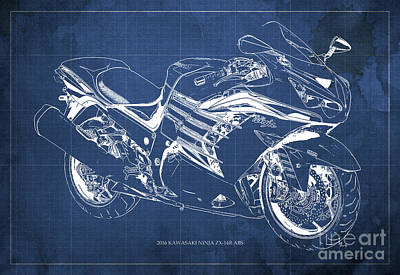 2016 Kawasaki Ninja Zx-14r Abs Blueprint Blue Background Art Print by Pablo Franchi
