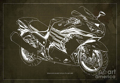 2016 Kawasaki Ninja Zx-14r Abs Blueprint Brown Background Art Print by Pablo Franchi