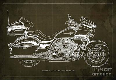 2016 Kawasaki Vulcan 1700 Voyager Abs  Blueprint  Brown Background Art Print by Pablo Franchi