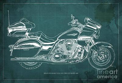2016 Kawasaki Vulcan 1700 Voyager Blueprint Art Print by Pablo Franchi