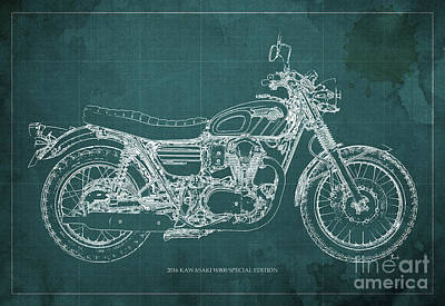 Motorcycle Mixed Media - 2016 Kawasaki W800 Speciaol Edition Blueprint Green Background by Pablo Franchi