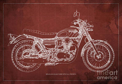 Motorcycle Drawing - 2016 Kawasaki W800 Speciaol Edition Blueprint Red Background by Pablo Franchi