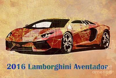 Italian Classic Car Drawing - 2016 Lamborghini Aventador On Old Brooklin 1898 Map  by Pablo Franchi