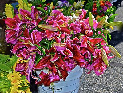 Photograph - 2016 Monona Farmers' Market Bucket Of Lilies by Janis Nussbaum Senungetuk