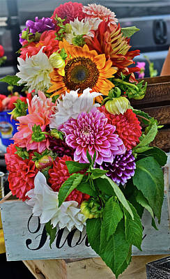 Photograph - 2016 Monona Farmers' Market Dahilas And Sunflower by Janis Nussbaum Senungetuk