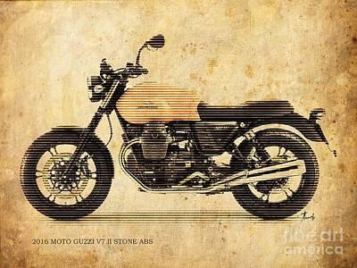 Abs Digital Art - 2016 Moto Guzzi V7 II Stone Abs by Pablo Franchi