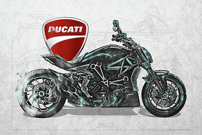 Digital Art - 2017 Ducati Xdiavel-s Motorcycle With 3d Badge Over Vintage Blueprint  by Serge Averbukh