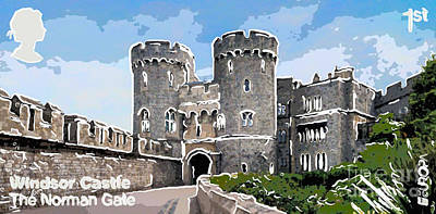 Medieval Entrance Painting - 2017 Europa Winstor Castle  The Norman Gate by Lanjee Chee
