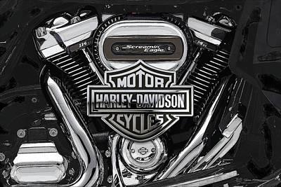 Digital Art - 2017 Harley-davidson Screamin' Eagle Milwaukee-eight 114 Engine With 3d Badge by Serge Averbukh