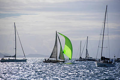 Photograph - 2017 Heineken Regatta Sailing Past Saba Saint Martin Sint Maarten Green Sail by Toby McGuire