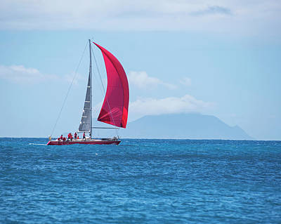 Sint Maarten Wall Art - Photograph - 2017 Heineken Regatta Sailing Past Saba Saint Martin Sint Maarten Red Sail by Toby McGuire