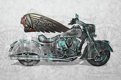 Digital Art - 2017 Indian Chief Classic Motorcycle With 3d Badge Over Vintage Blueprint  by Serge Averbukh