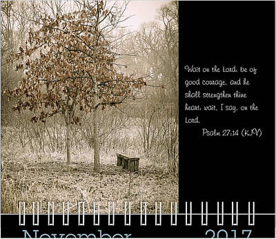 Photograph - 2017 Inspirational Calendar Preview - November by Joni Eskridge