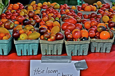 Photograph - 2017 Monona Farmers' Market August Heirloom Cherry Tomatoes by Janis Nussbaum Senungetuk