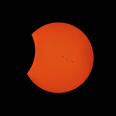 Photograph - 2017 Partial Solar Eclipse From New Jersey At 350  by Terry DeLuco