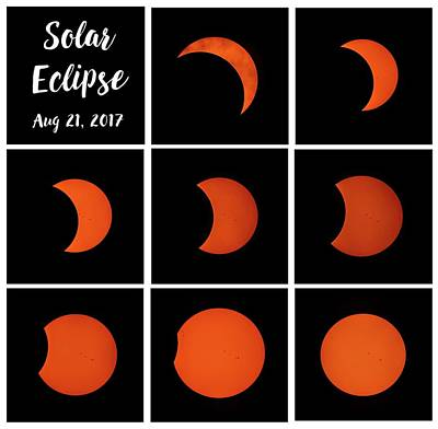 Photograph - 2017 Partial Solar Eclipse From New Jersey Collage Square by Terry DeLuco