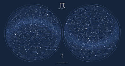 Constellations Digital Art - 2017 Pi Day Star Chart Azimuthal Projection by Martin Krzywinski