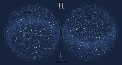 2017 Pi Day Star Chart Azimuthal Projection Art Print by Martin Krzywinski
